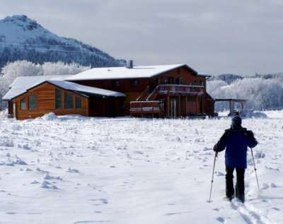 Skiing back to Lone Elk Lodge